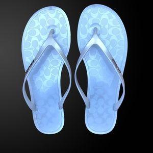 Coach Shoes - Coach silver jelly sandals/flip-flops Size: US 8